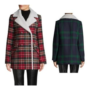 NWT French Connection Faux Shearling Plaid coat